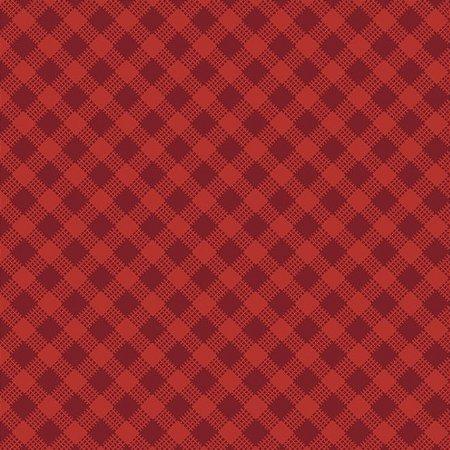 Tricoline Estampado Xadrez Diagonal Vermelho - 100% Algodão, Unid. 50cm x 1,50mt