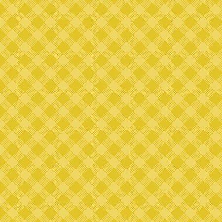 Tricoline Estampado Xadrez Diagonal Amarelo - 100% Algodão, Unid. 50cm x 1,50mt