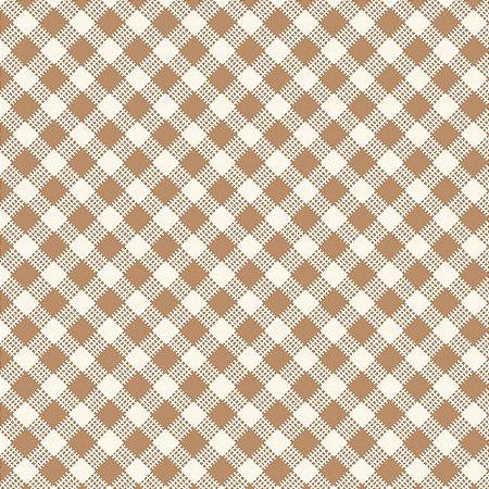 Tricoline Estampado Xadrez Diagonal Bege - 100% Algodão, Unid. 50cm x 1,50mt