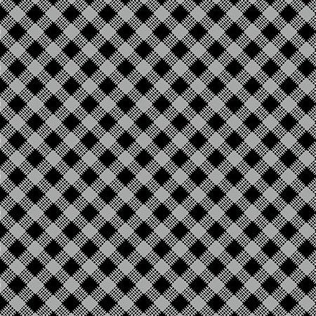 Tricoline Estampado Xadrez Diagonal Preto - 100% Algodão, Unid. 50cm x 1,50mt