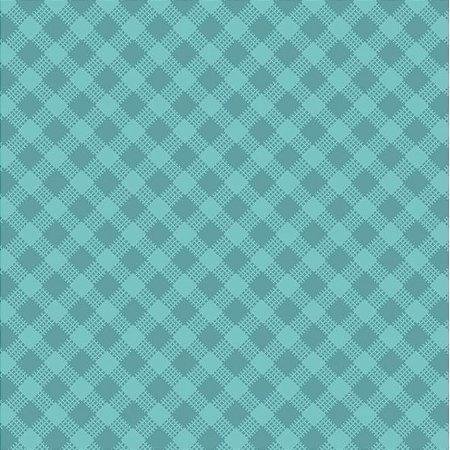 Tricoline Estampado Xadrez Diagonal Azul Turquesa - 100% Algodão, Unid. 50cm x 1,50mt