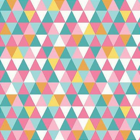 Tricoline Geométrico (triangulo Coloridos), 100% Algodão, Unid. 50cm x 1,50mt