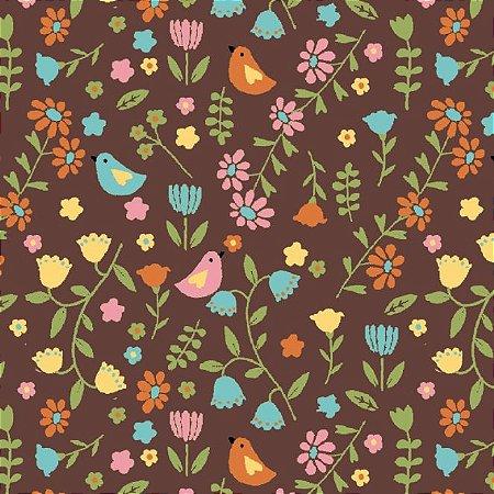 Tricoline Estampado Pássaros e Flores Fundo Marrom, 100% Algodão, Unid. 50cm x 1,50mt