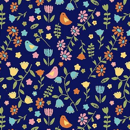 Tricoline Estampado Pássaros e Flores Fundo Azul, 100% Algodão, Unid. 50cm x 1,50mt