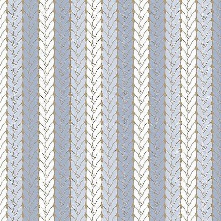 Tricoline Estampado Tricô Azul, 100% Algodão, Unid. 50cm x 1,50mt