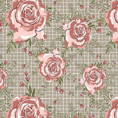 Tricoline Estampado Floral Campestre Bege, 100% Algodão, Unid. 50cm x 1,50mt
