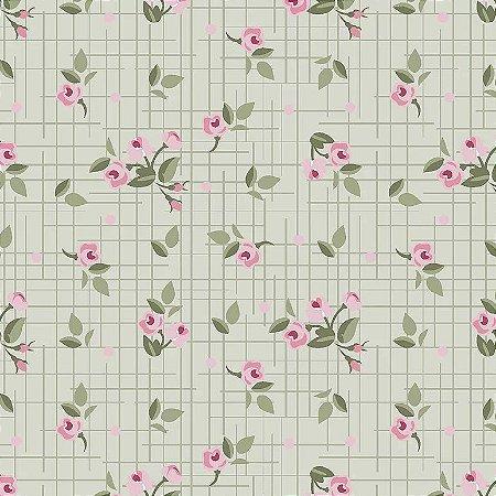 Tricoline Estampado Mini Floral Pássaros Verde, 100% Algodão, Unid. 50cm x 1,50mt