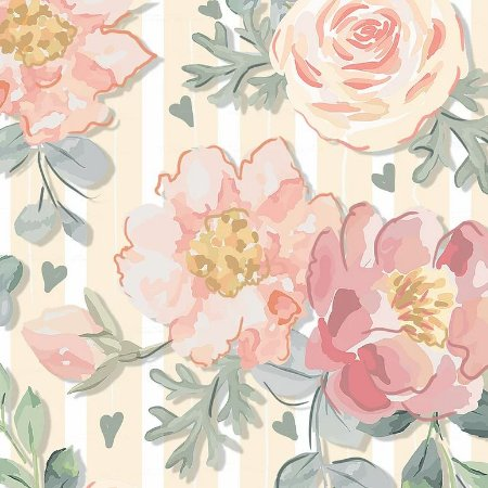 Tricoline Digital Floral Veneza Rosê 100% Algodão, Unid. 50cm x 1,50mt