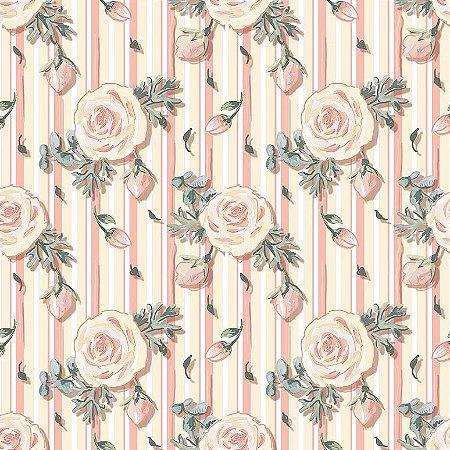 Tricoline Digital Mini Floral Veneza Rosê, 100% Algodão, Unid. 50cm x 1,50mt