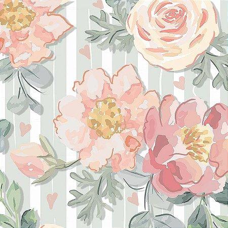 Tricoline Digital Floral Veneza Menta, 100% Algodão, Unid. 50cm x 1,50mt