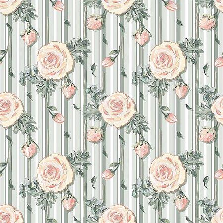 Tricoline Digital Mini Floral Veneza Menta, 100% Algodão, Unid. 50cm x 1,50mt