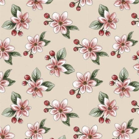 Tricoline Digital Nude Apple Blossom, 100% Algodão, Unid. 50cm x 1,50mt