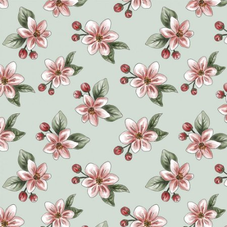 Tricoline Digital Apple Blossom, 100% Algodão, Unid. 50cm x 1,50mt