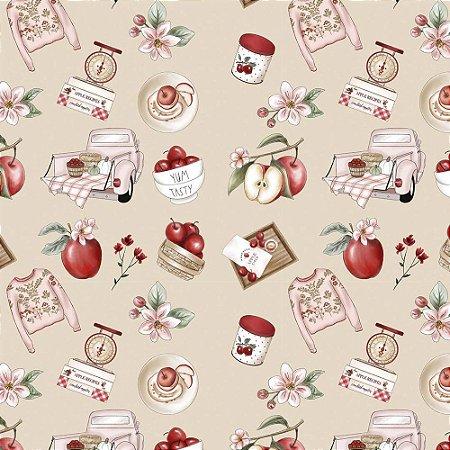 Tricoline Digital Nude Apples Recipes, 100% Algodão, Unid. 50cm x 1,50mt