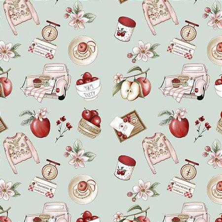 Tricoline Digital Apples Recipes, 100% Algodão, Unid. 50cm x 1,50mt