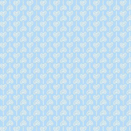 Tricoline Estampado Pirulito de Corações Azul Bebê, 100% Algodão, Unid. 50cm x 1,50mt