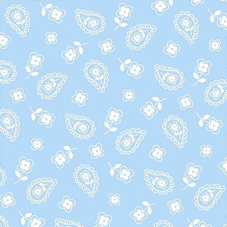 Tricoline Estampado Mini Cashmere Azul Bebê, 100% Algodão, Unid. 50cm x 1,50mt