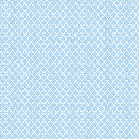 Tricoline Estampado Mini Vitral Azul Bebê, 100% Algodão, Unid. 50cm x 1,50mt