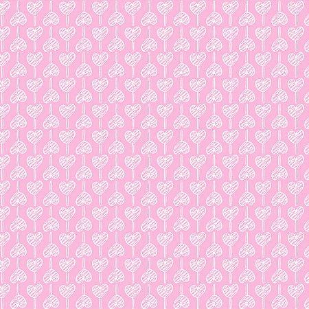 Tricoline Estampado Pirulito de Corações Rosa Bebê, 100% Algodão, Unid. 50cm x 1,50mt