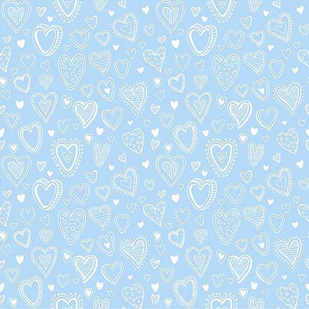Tricoline Estampado Multi Corações Azul Bebê, 100% Algodão, Unid. 50cm x 1,50mt