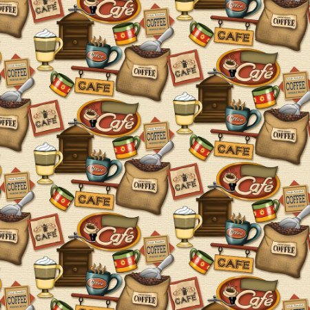 Tricoline Digital Café Fundo Claro, 100% Algodão, Unid. 50cm x 1,50mt