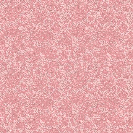 Tricoline Estampado Renda Rosa Bebê, 100% Algodão, Unid. 50cm x 1,50mt