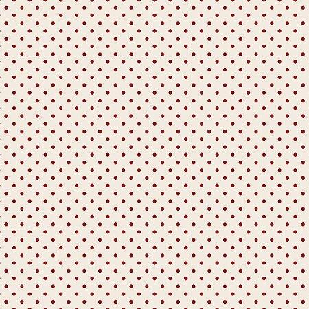 Tricoline Estampado Mini Poá Vermelho, 100% Algodão, Unid. 50cm x 1,50mt
