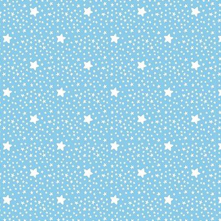 Tricoline Estampado Estrelinhas Azul Campestre, 100% Algodão, Unid. 50cm x 1,50mt