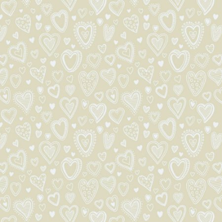 Tricoline Estampado Multi Corações Creme, 100% Algodão, Unid. 50cm x 1,50mt