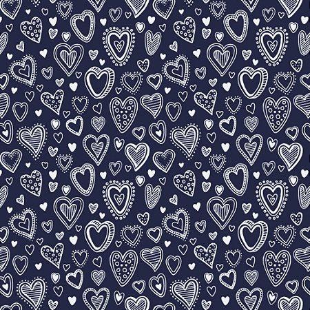 Tricoline Estampado Multi Corações Marinho, 100% Algodão, Unid. 50cm x 1,50mt