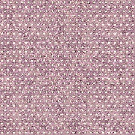 Tricoline Estampado Estrelinha Lavanda, 100% Algodão, Unid. 50cm x 1,50mt