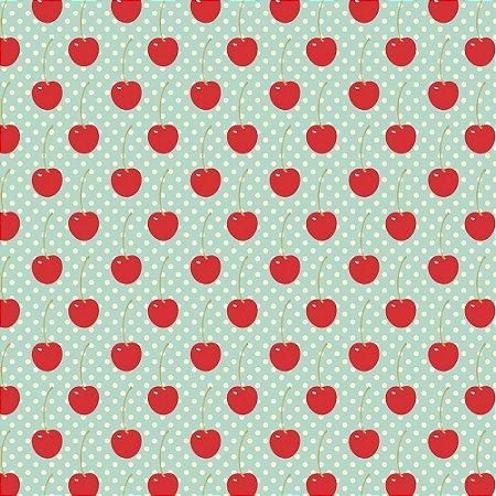 Tricoline Estampado Cherry Acqua, 100% Algodão, Unid. 50cm x 1,50mt