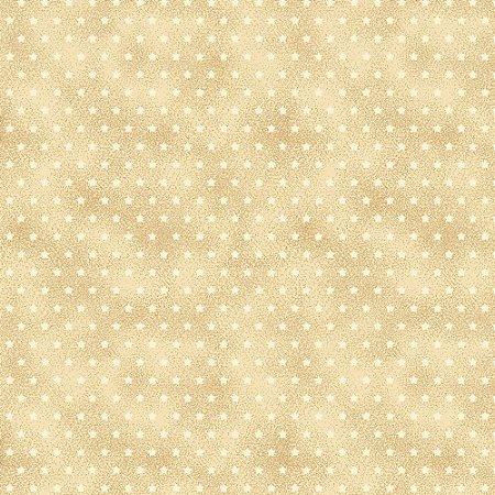 Tricoline Estampado Estrelinha Creme, 100% Algodão, Unid. 50cm x 1,50mt