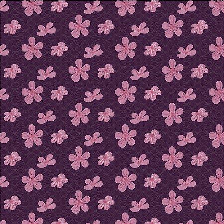 Tricoline Estampado Flores em Marrom, 100% Algodão, Unid. 50cm x 1,50mt