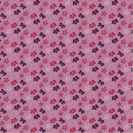 Tricoline Estampado Flores de Cerejeiras Rosa, 100% Algodão, Unid. 50cm x 1,50mt