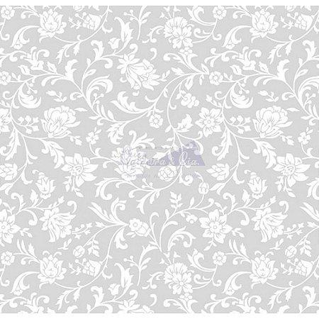 Tecido Tricoline Floral Isis (Cinza), 100% Algodão, Unid. 50cm x 1,50mt