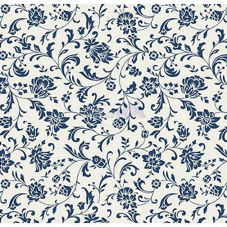 Tecido Tricoline Floral Isis (Branco/Marinho), 100% Algodão, Unid. 50cm x 1,50mt