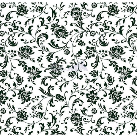 Tecido Tricoline Floral Isis (Branco/Preto), 100% Algodão, Unid. 50cm x 1,50mt