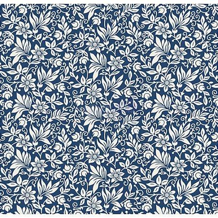 Tecido Tricoline Gerbera (Marinho/Branco), 100% Algodão, Unid. 50cm x 1,50mt