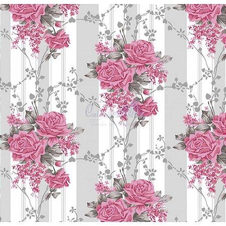 Tecido Tricoline Flora (Cinza/Rosa), 100% Algodão, Unid. 50cm x 1,50mt