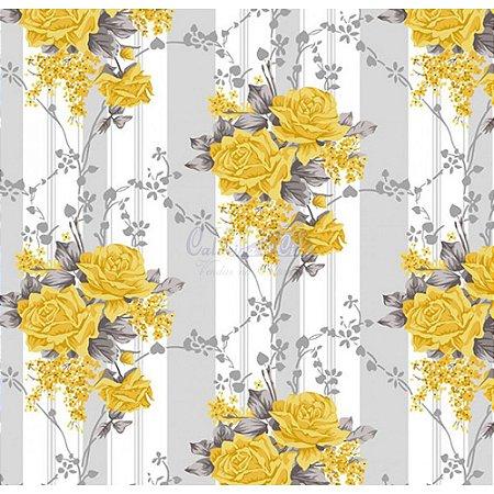 Tecido Tricoline Flora (Cinza/Amarelo), 100% Algodão, Unid. 50cm x 1,50mt