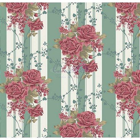 Tecido Tricoline Flora (Verde Vintage), 100% Algodão, Unid. 50cm x 1,50mt
