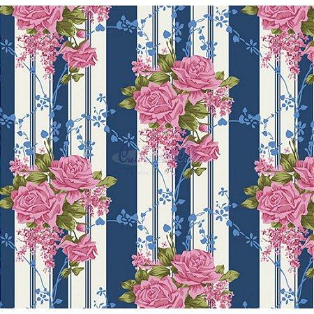 Tecido Tricoline Flora (Azul Safari), 100% Algodão, Unid. 50cm x 1,50mt