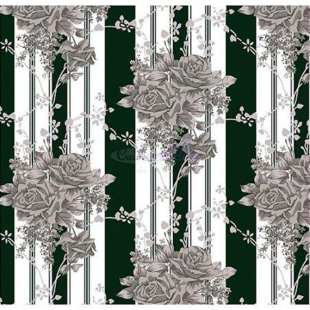 Tecido Tricoline Flora (Preto), 100% Algodão, Unid. 50cm x 1,50mt
