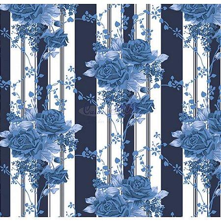 Tecido Tricoline Flora (Marinho), 100% Algodão, Unid. 50cm x 1,50mt