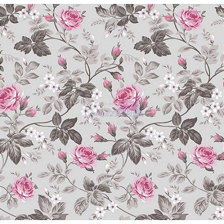 Tecido Tricoline Floral Dália (Cinza/Rosa), 100% Algodão, Unid. 50cm x 1,50mt