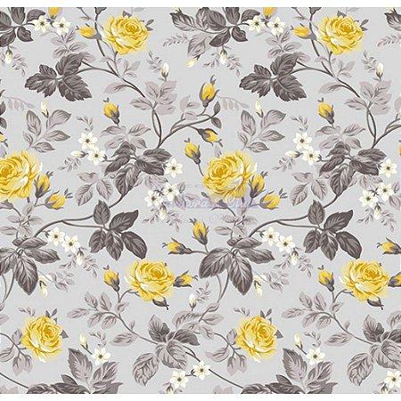 Tecido Tricoline Floral Dália (Cinza/Amarelo), 100% Algodão, Unid. 50cm x 1,50mt