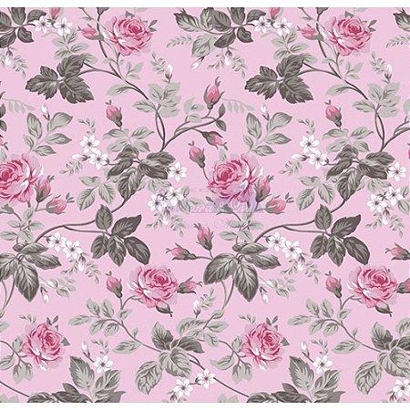 Tecido Tricoline Floral Dália (Rose), 100% Algodão, Unid. 50cm x 1,50mt