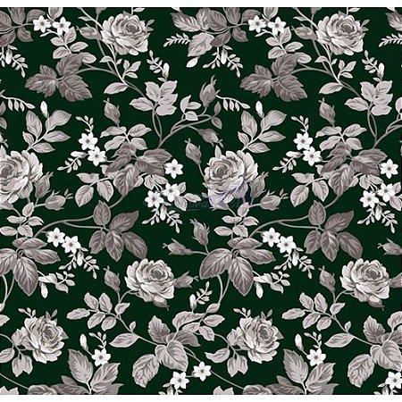 Tecido Tricoline Floral Dália (Preto), 100% Algodão, Unid. 50cm x 1,50mt