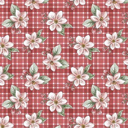 Tricoline Digital Red Apple Blossom, 100% Algodão, Unid. 50cm x 1,50mt